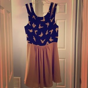 Navy & Tan Chiffon Patterned Dress